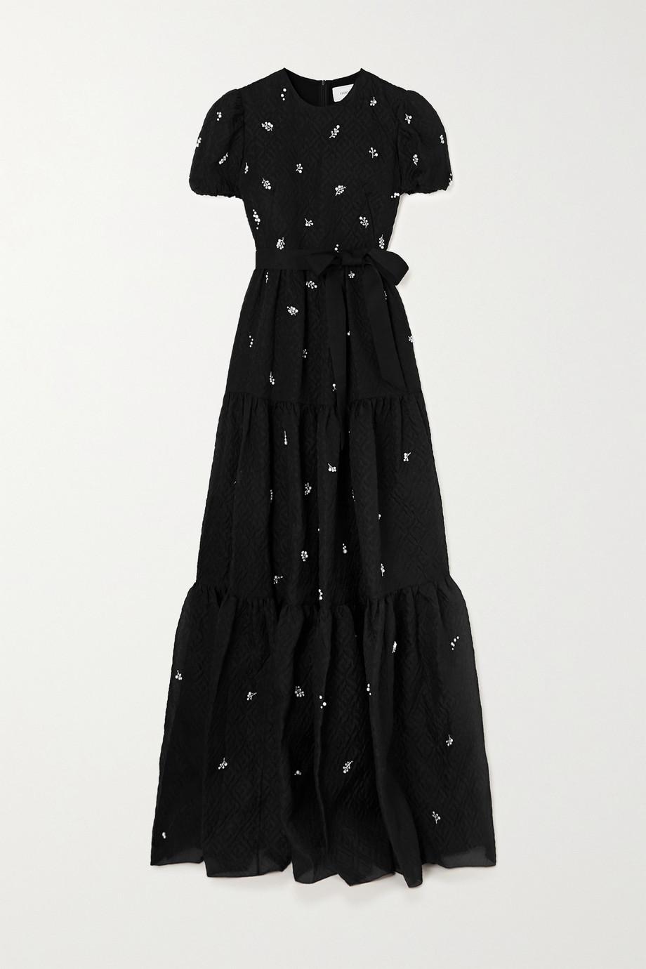 Erdem Embellished silk-blend cloqué gown