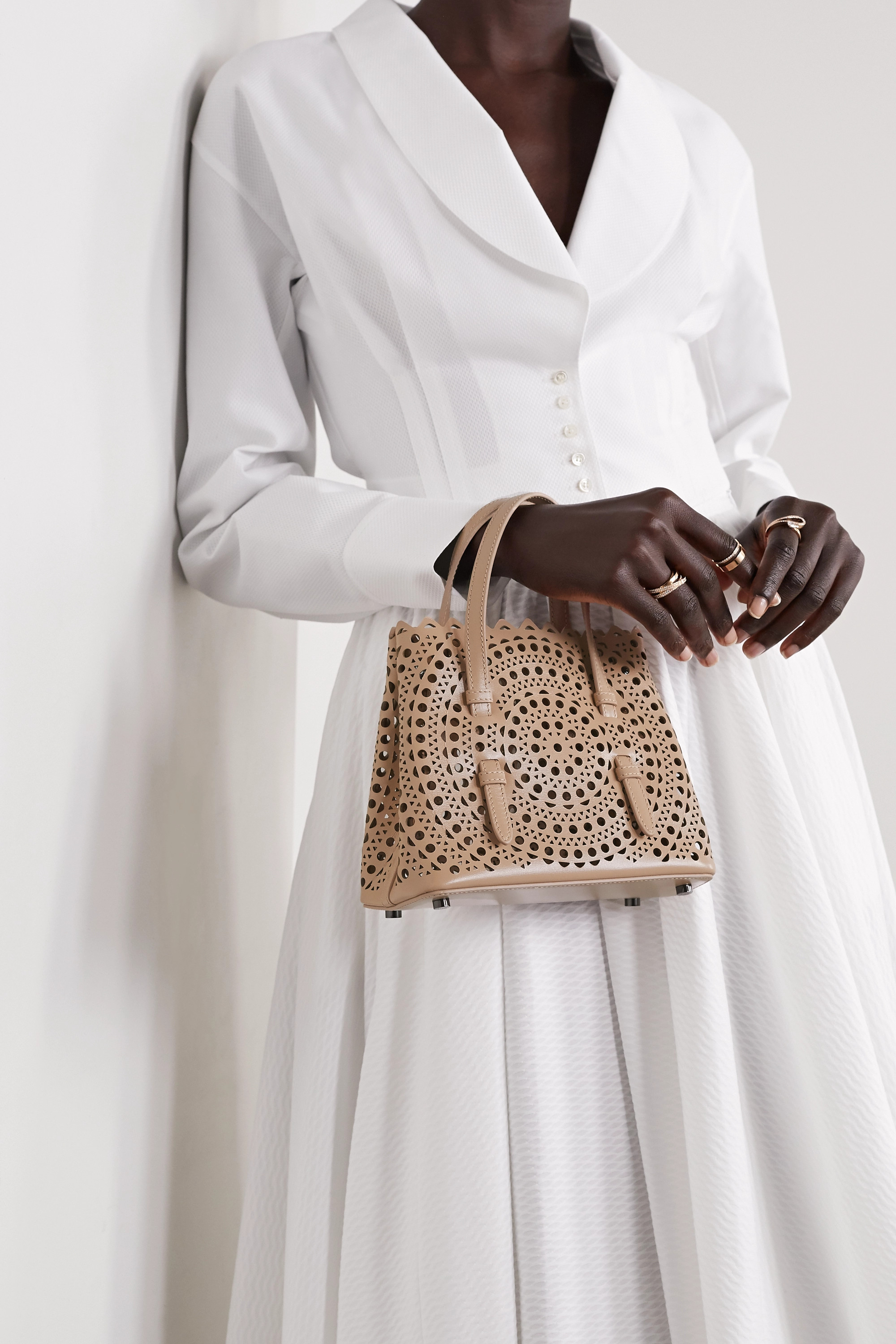 Alaïa Mina mini laser-cut leather tote