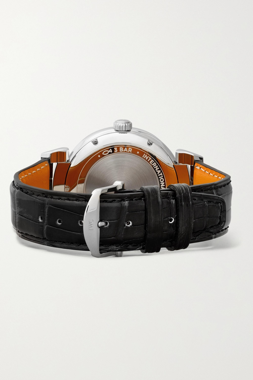 IWC SCHAFFHAUSEN Montre en acier inoxydable à bracelet en alligator Da Vinci Automatic 40 mm