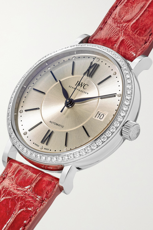 IWC SCHAFFHAUSEN Montre en acier inoxydable et diamants à bracelet en alligator Portofino Automatic 37 mm