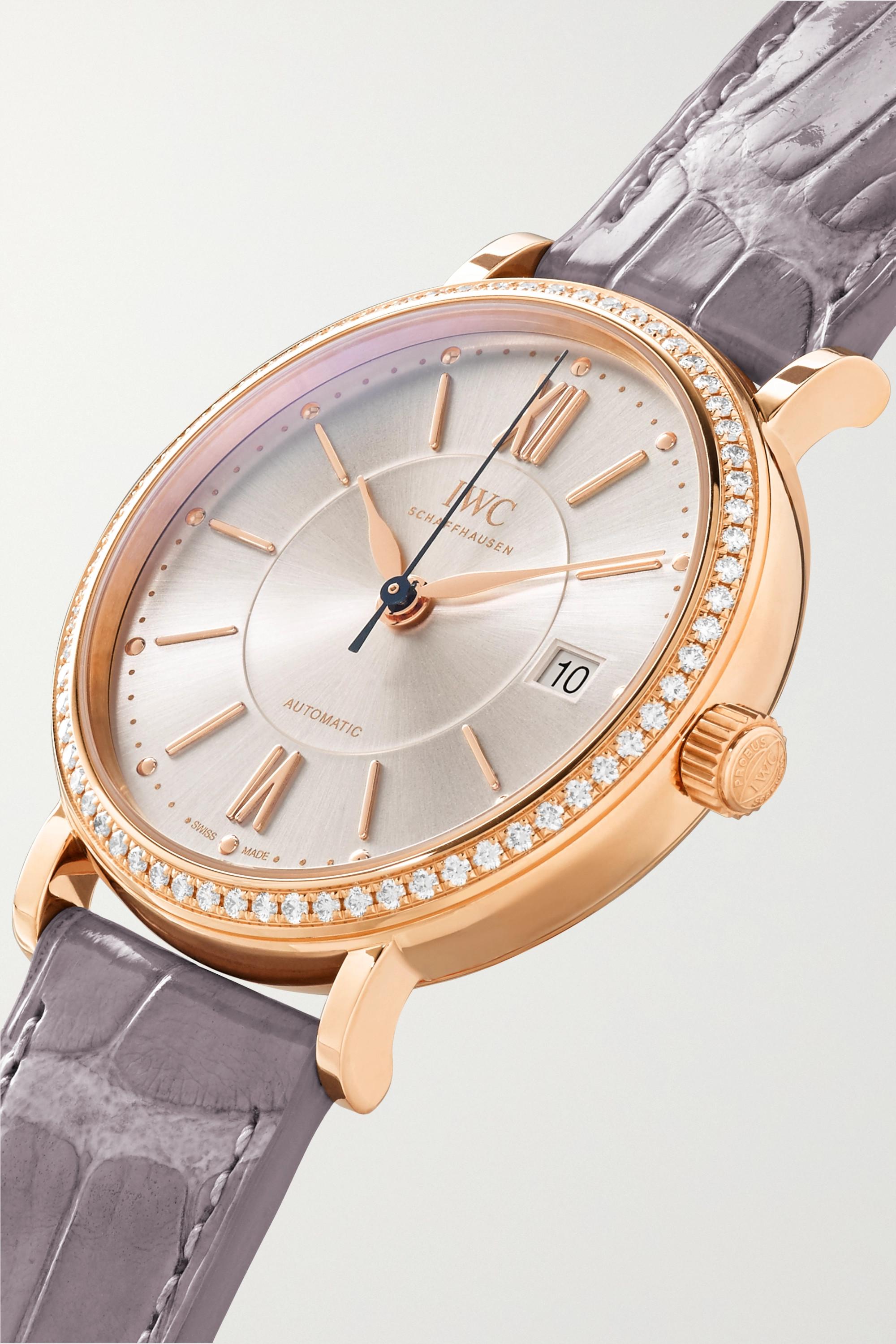 IWC SCHAFFHAUSEN Portofino Automatic 37mm 18-karat red gold, alligator and diamond watch