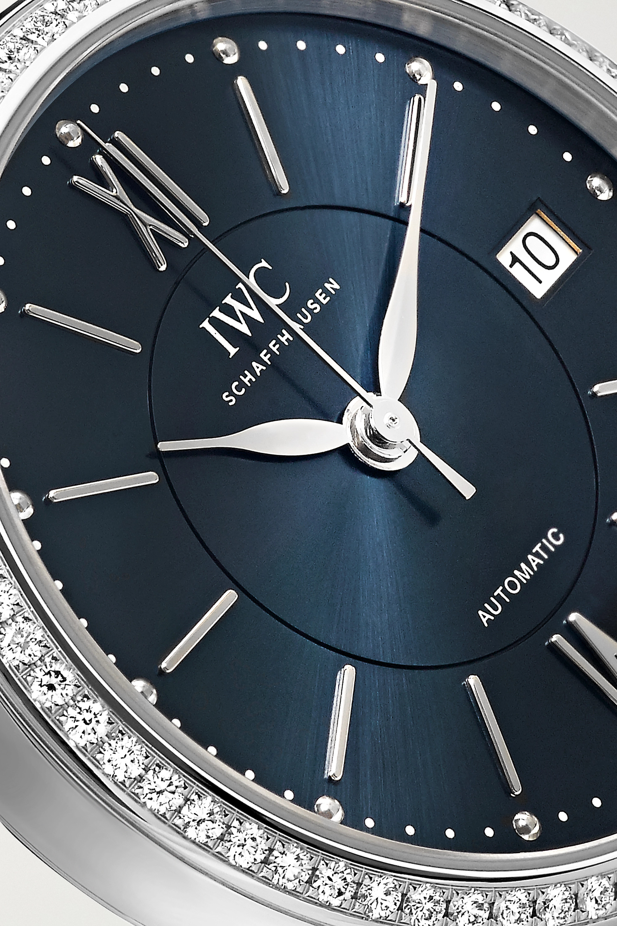 IWC SCHAFFHAUSEN Portofino Automatic 37 alligator, stainless steel and diamond watch