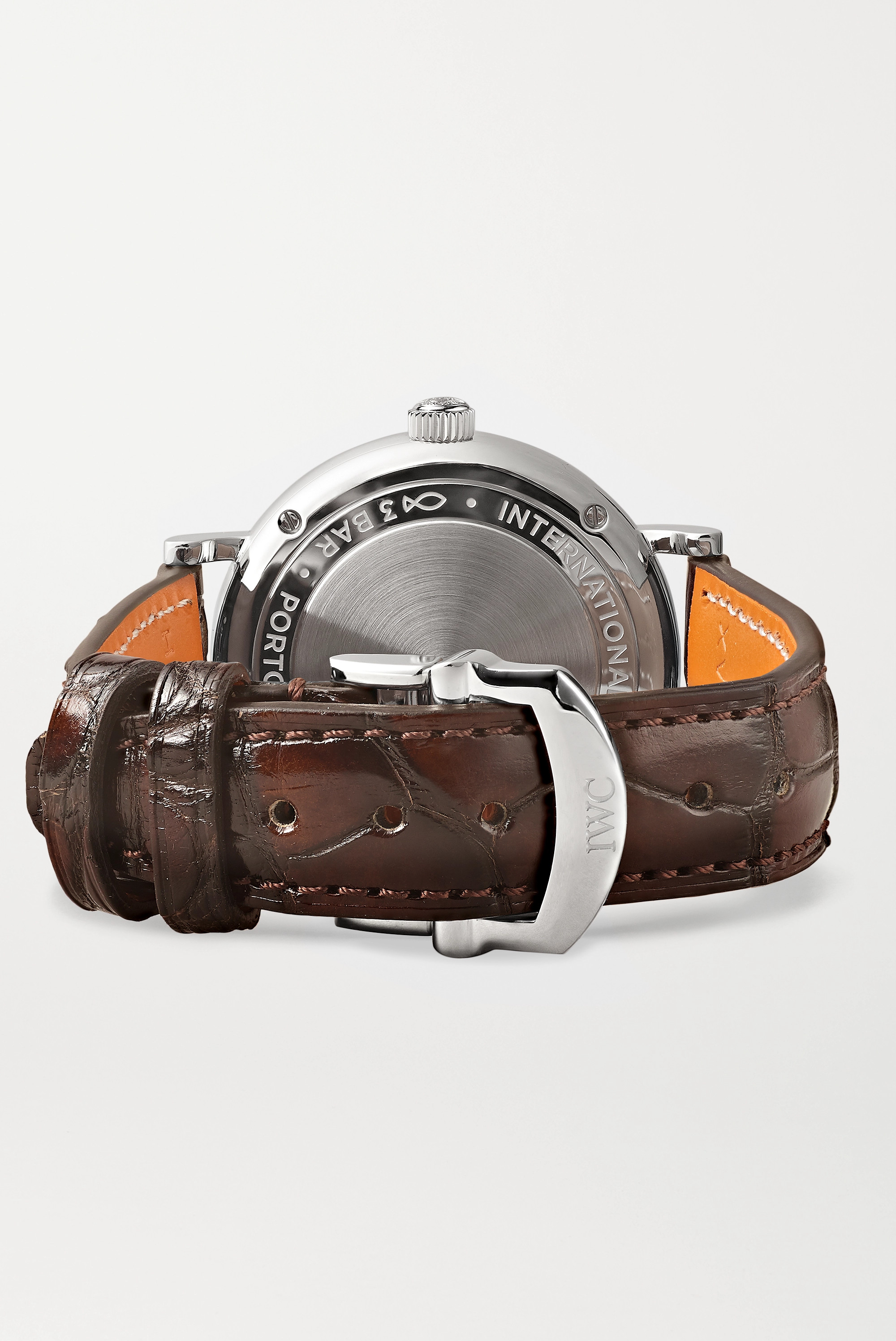 IWC SCHAFFHAUSEN Portofino Automatic 34 mm Uhr aus Edelstahl mit Diamanten und Alligatorlederarmband