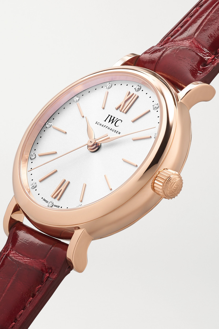 IWC SCHAFFHAUSEN Portofino Automatic 34mm 18-karat red gold, alligator and diamond watch