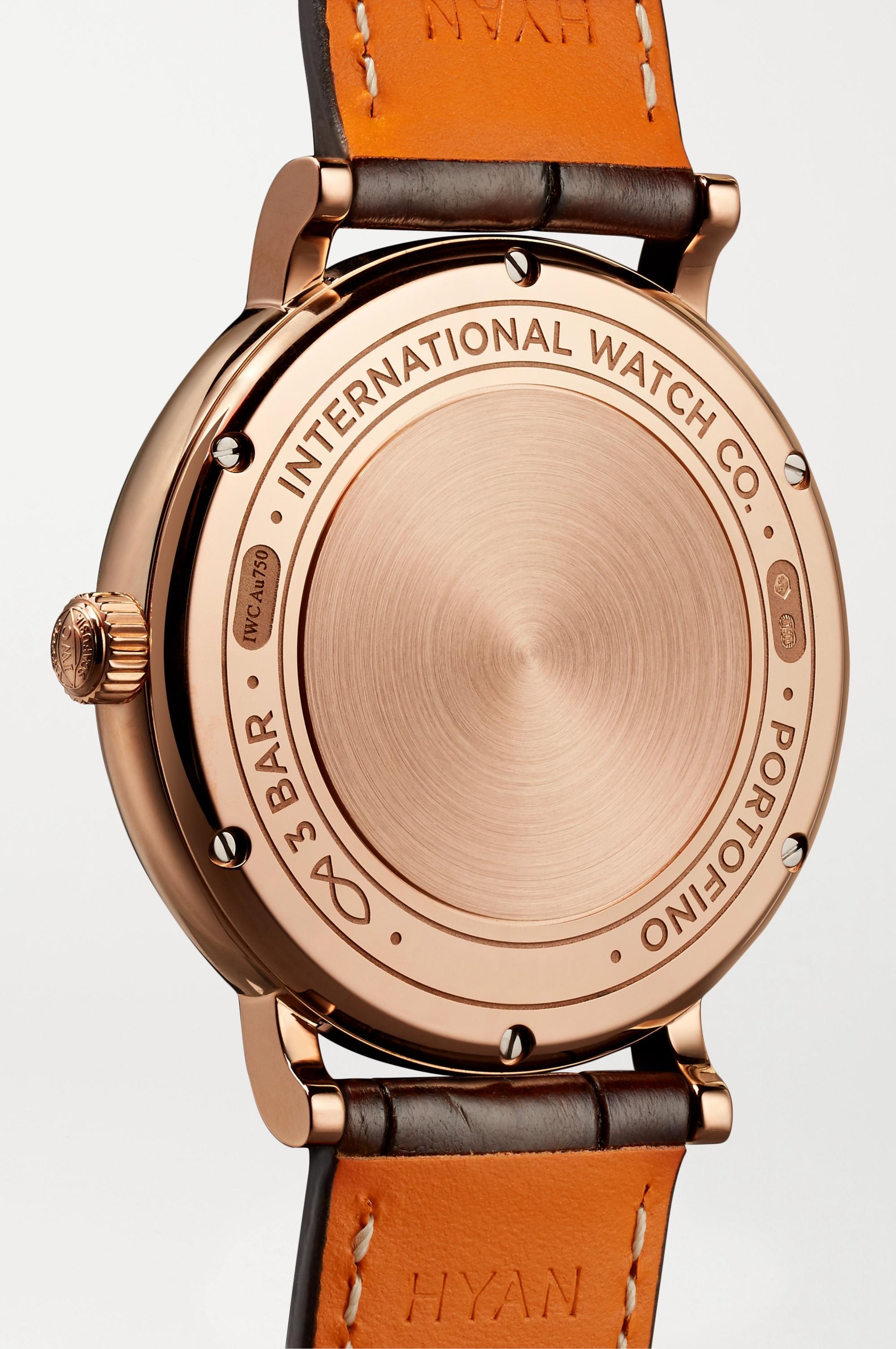 IWC SCHAFFHAUSEN Portofino Automatic 37 mm Uhr aus 18 Karat Rotgold mit Diamanten und Alligatorlederarmband