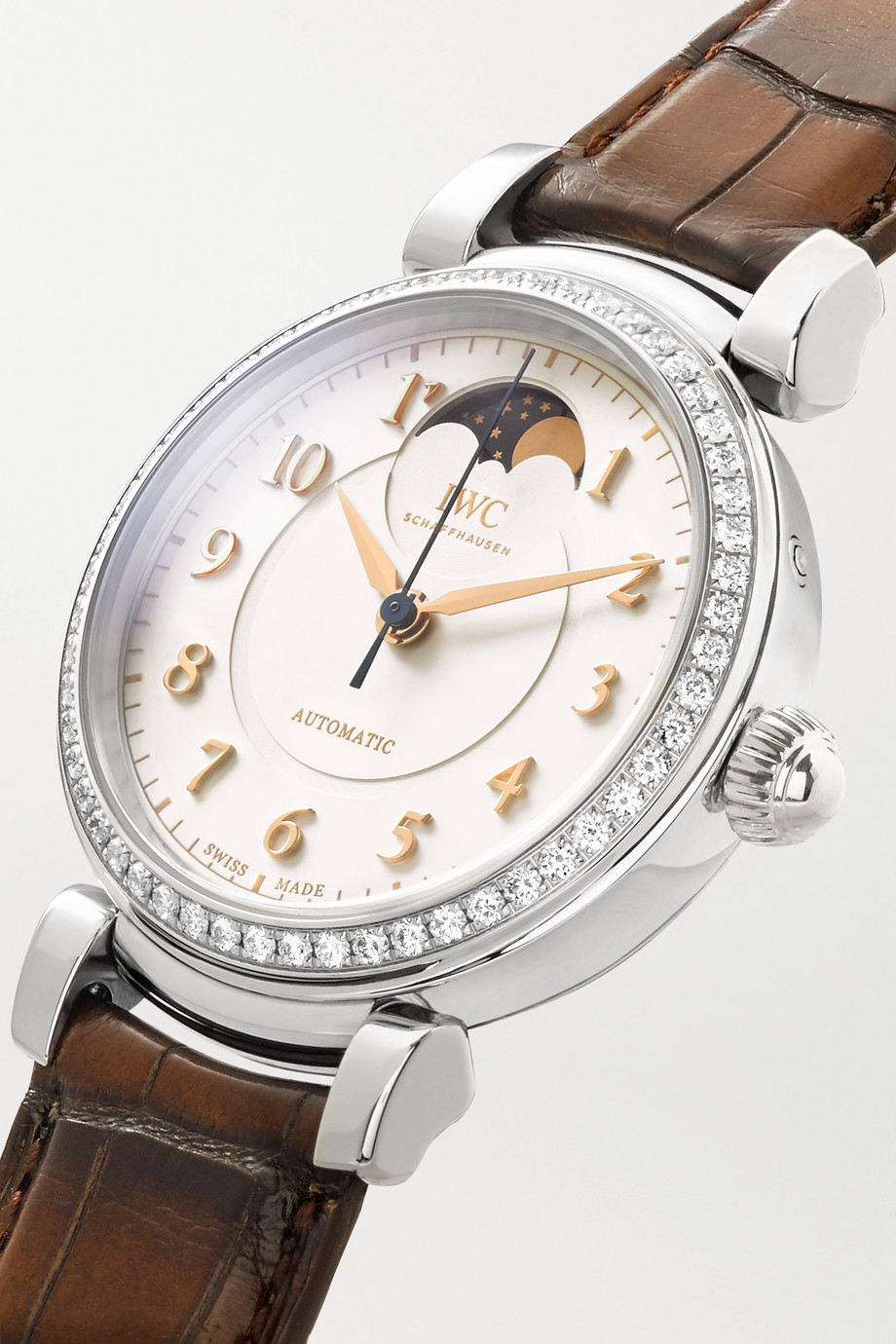 IWC SCHAFFHAUSEN Da Vinci Automatic Moon Phase 36mm stainless steel, alligator and diamond watch