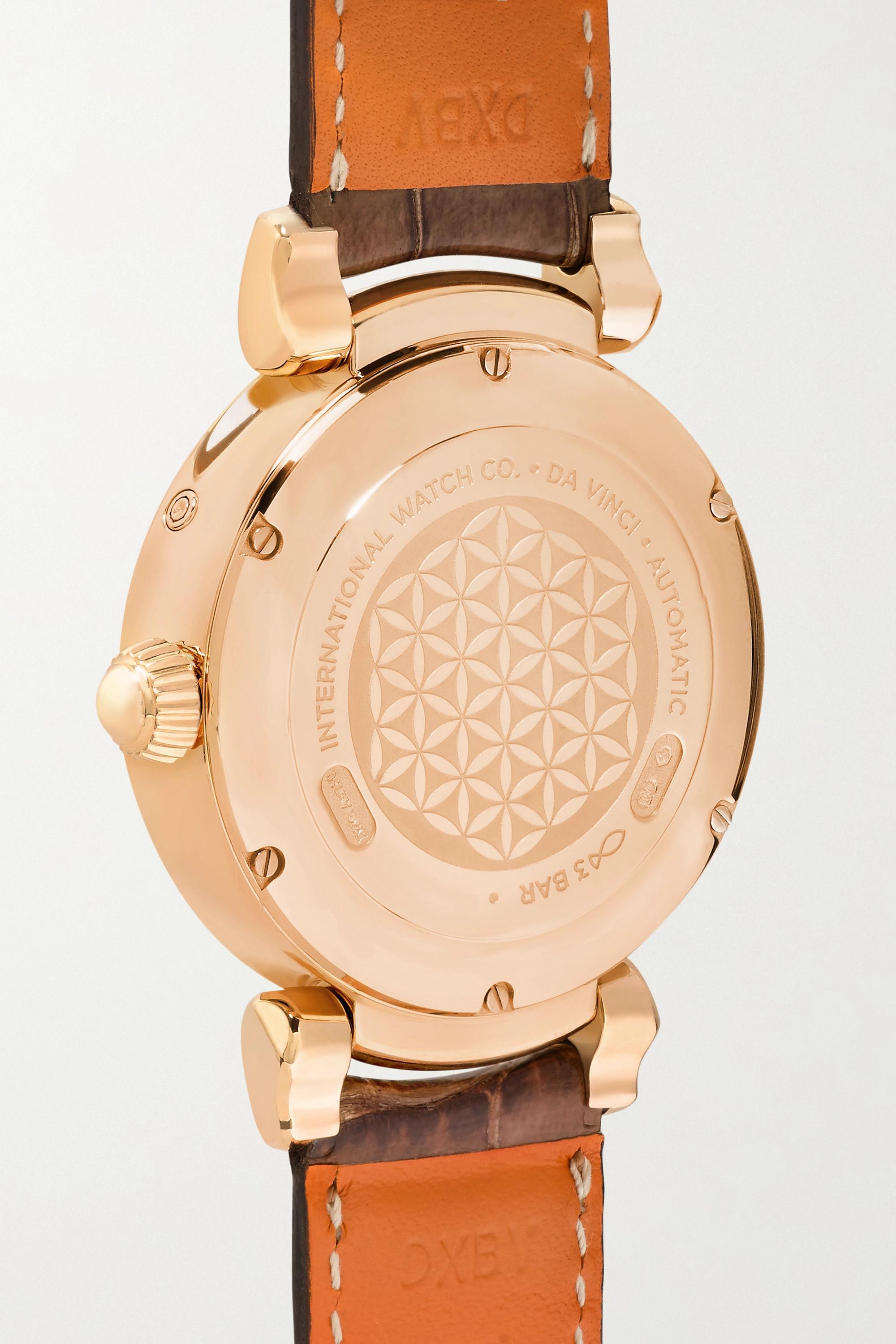 IWC SCHAFFHAUSEN Da Vinci Automatic Moon Phase 36 mm Uhr aus 18 Karat Rotgold mit Alligatorlederarmband