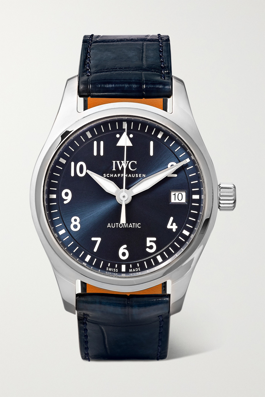 IWC SCHAFFHAUSEN Montre d'aviateur en acier inoxydable à bracelet en alligator Automatic 36 mm