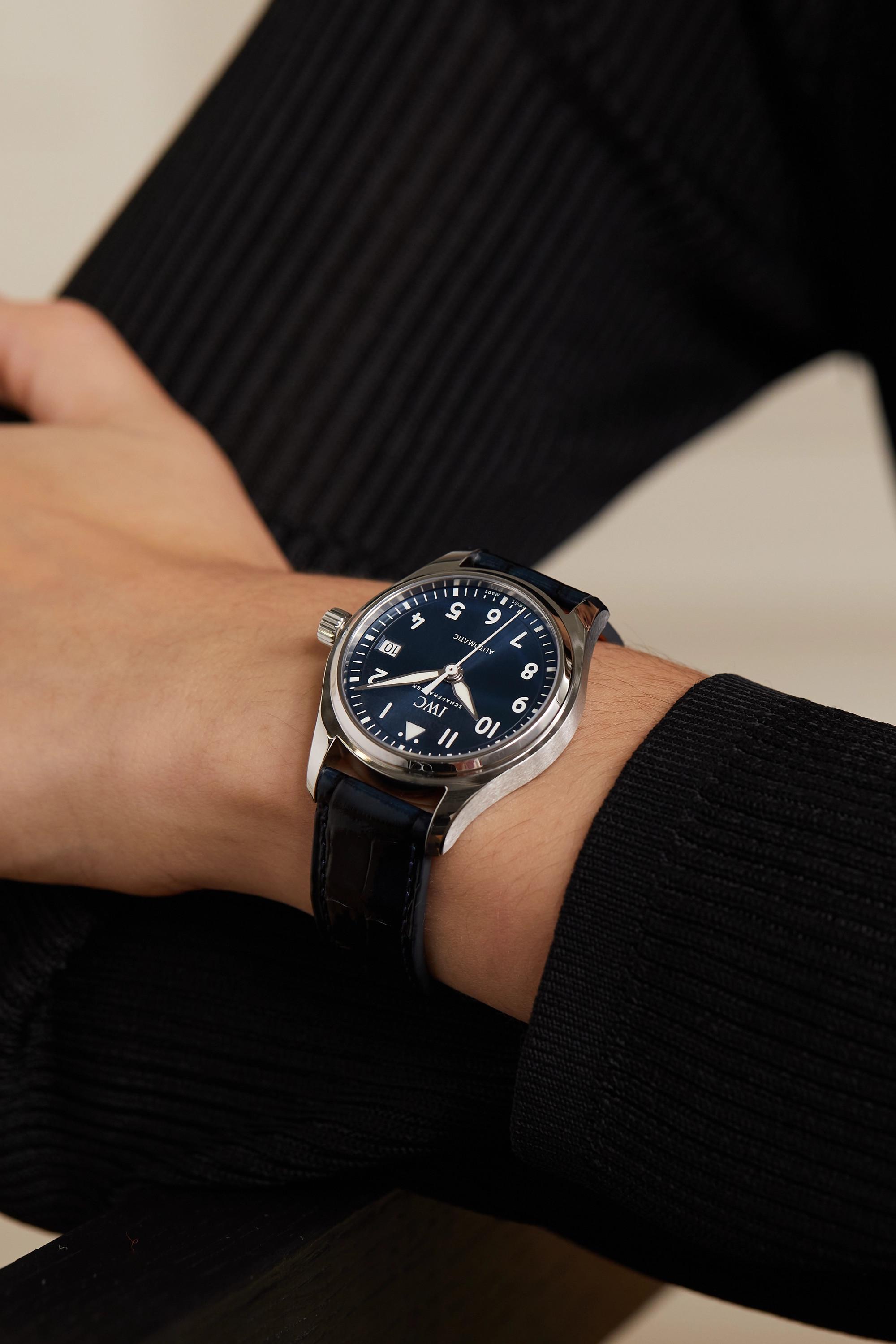 IWC SCHAFFHAUSEN Montre d'aviateur en acier inoxydable à bracelet en alligator Automatic 36 mm