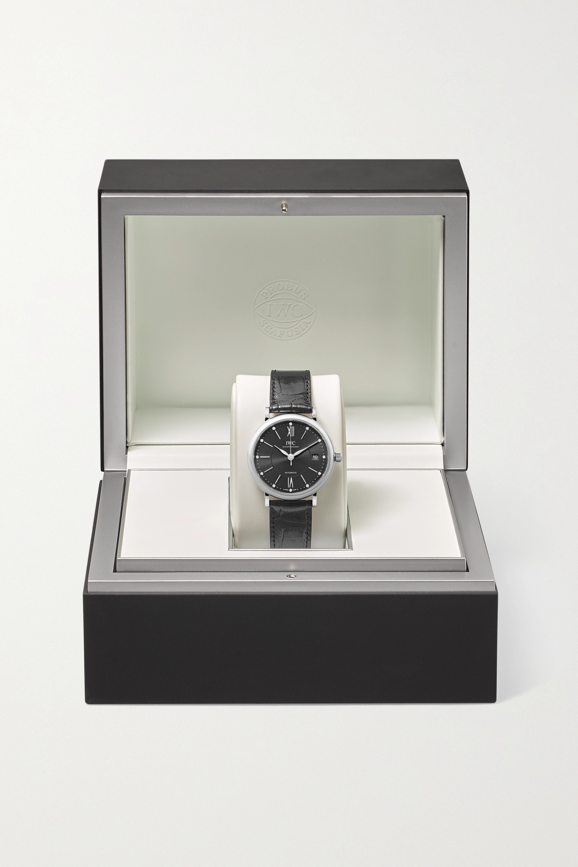 IWC SCHAFFHAUSEN Portofino Automatic 37 mm Uhr aus Edelstahl mit Diamanten und Alligatorlederarmband