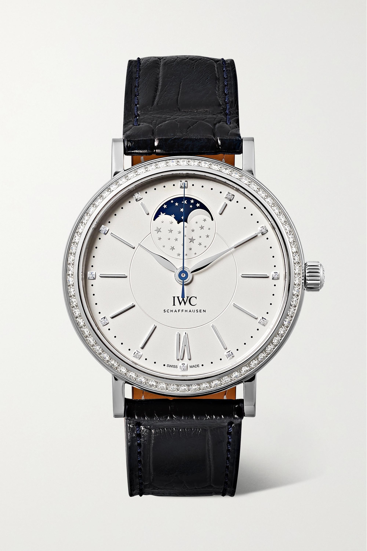 IWC SCHAFFHAUSEN Portofino Automatic Moon Phase 37 mm Uhr aus Edelstahl mit Diamanten und Alligatorlederarmband