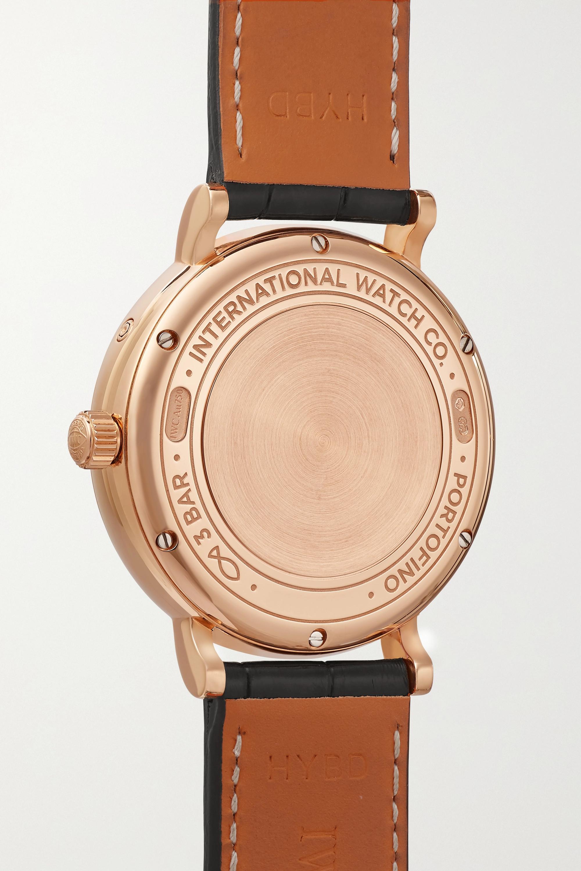 IWC SCHAFFHAUSEN Portofino Automatic Moon Phase 37 mm Uhr aus 18 Karat Gold mit Diamanten und Alligatorlederarmband