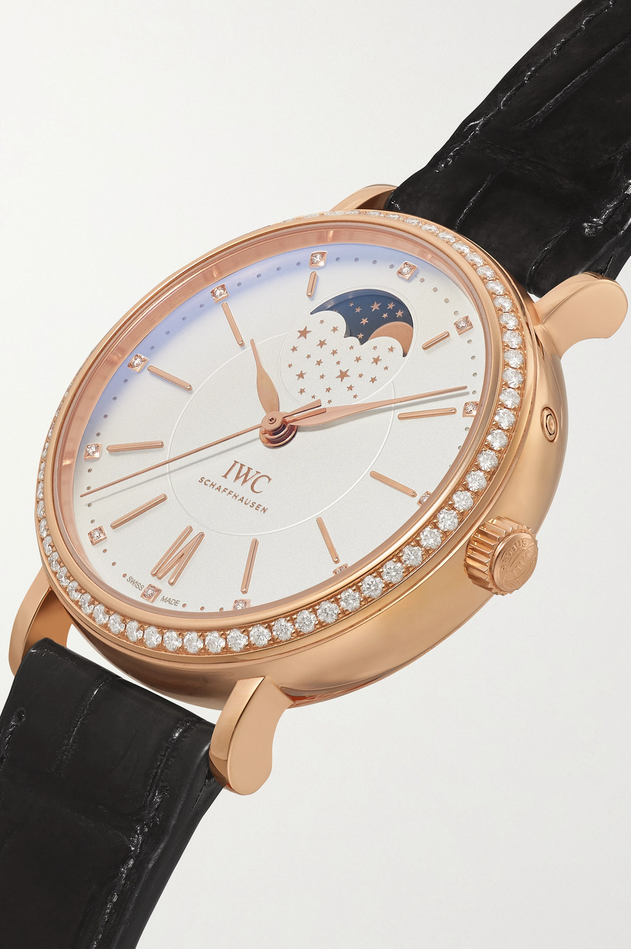 IWC SCHAFFHAUSEN Montre en or 18 carats et diamants à bracelet en alligator Portofino Automatic Moon Phase 37 mm