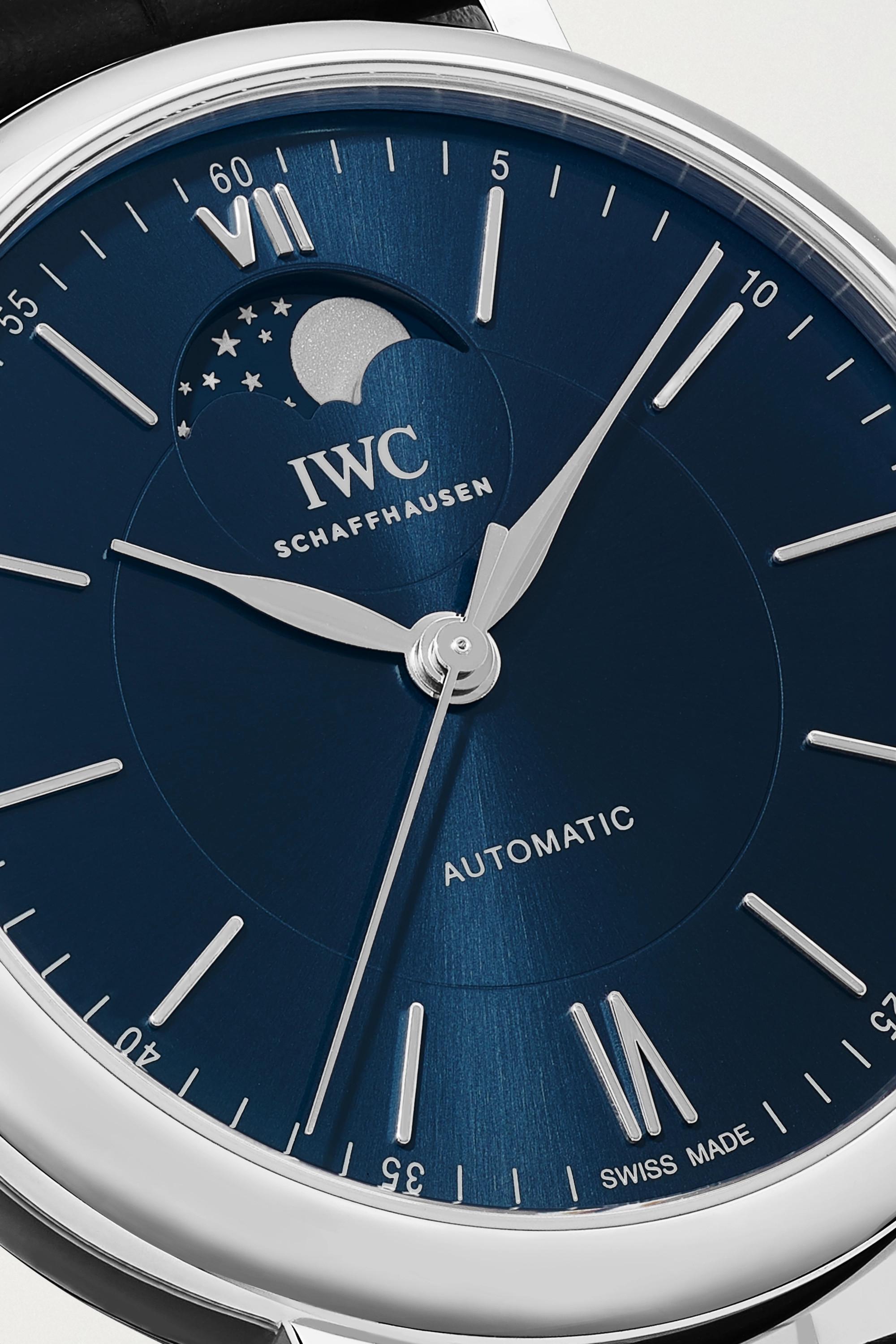 IWC SCHAFFHAUSEN Montre en acier inoxydable à bracelet en alligator Portofino Automatic Moon Phase 40 mm