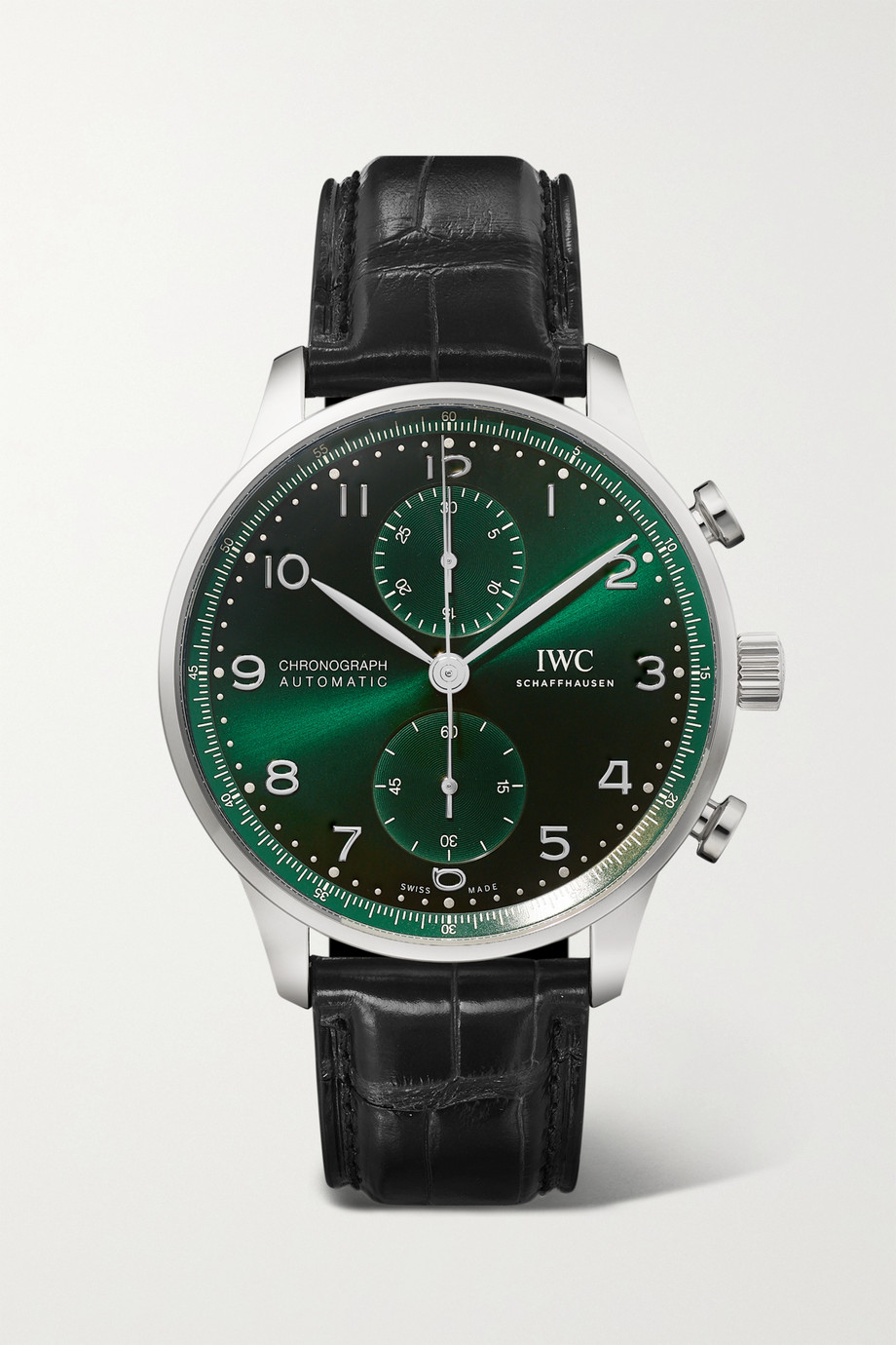 IWC SCHAFFHAUSEN Montre en acier inoxydable à bracelet en alligator Portugieser Automatic Chronograph 41 mm