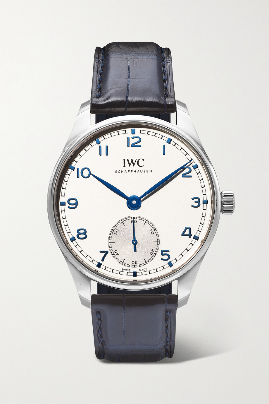 IWC SCHAFFHAUSEN Montre en acier inoxydable à bracelet en alligator Portugieser Automatic 40,4 mm