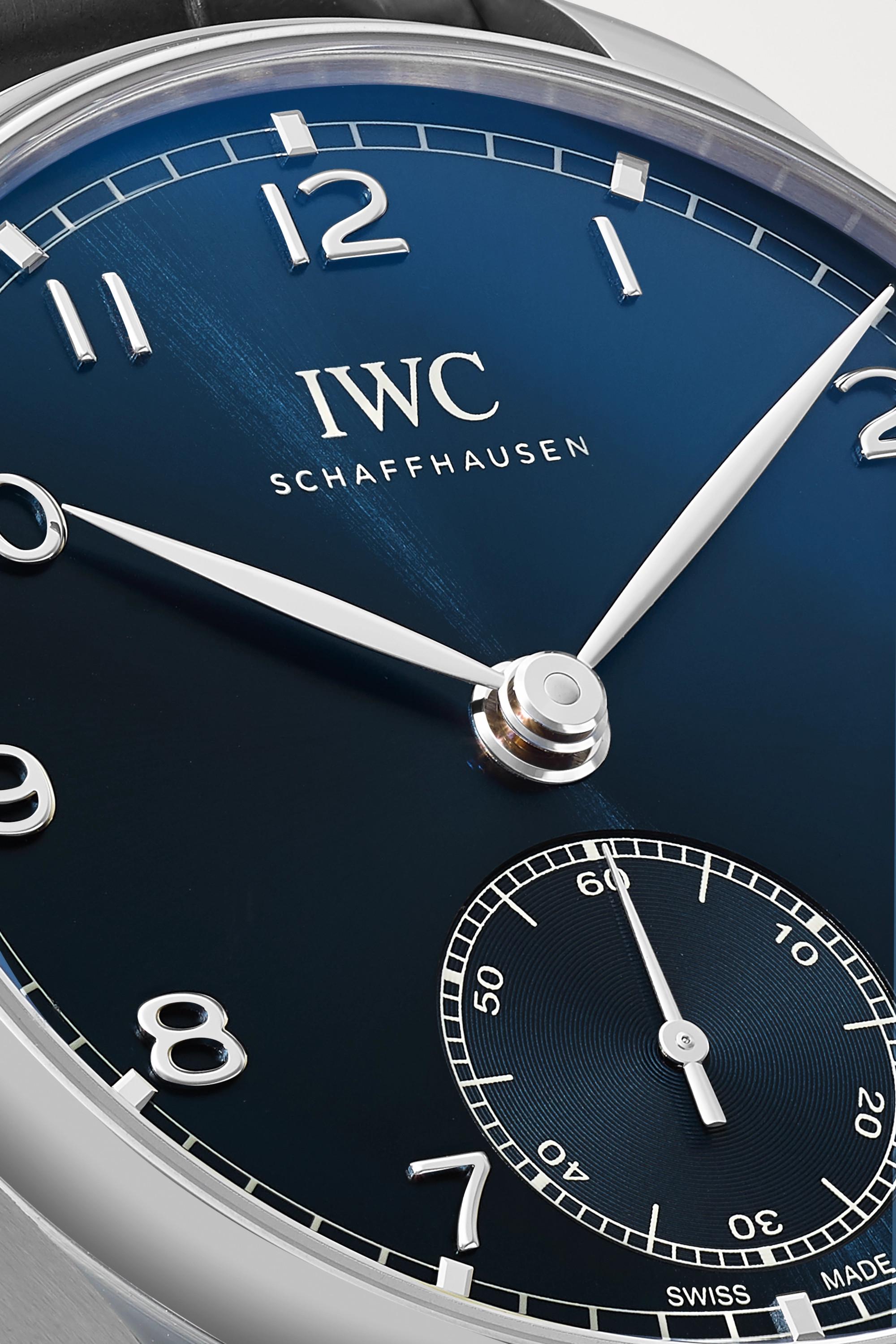 IWC SCHAFFHAUSEN Portugieser Automatic 40,4 mm Uhr aus Edelstahl mit Alligatorlederarmband