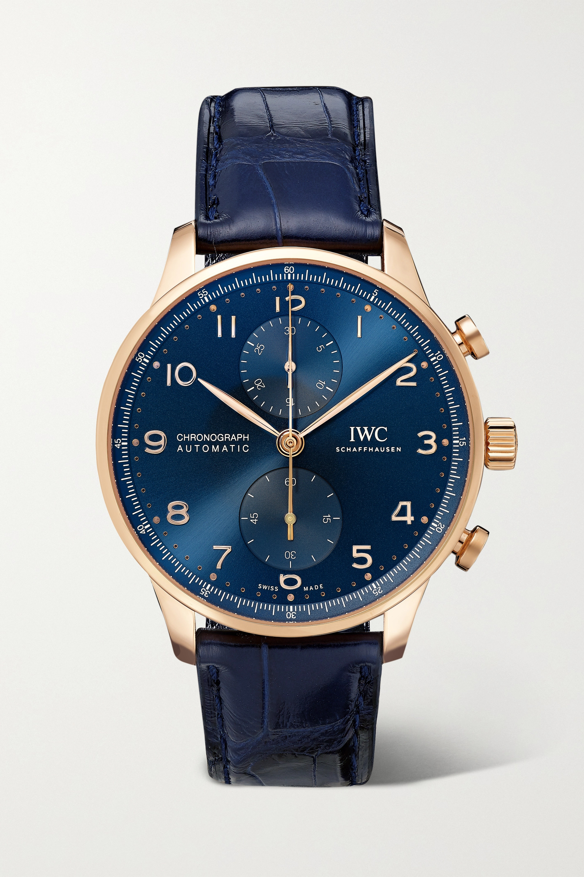 IWC SCHAFFHAUSEN Portugieser Automatic Chronograph Boutique Edition 41mm 18-karat red gold and alligator watch