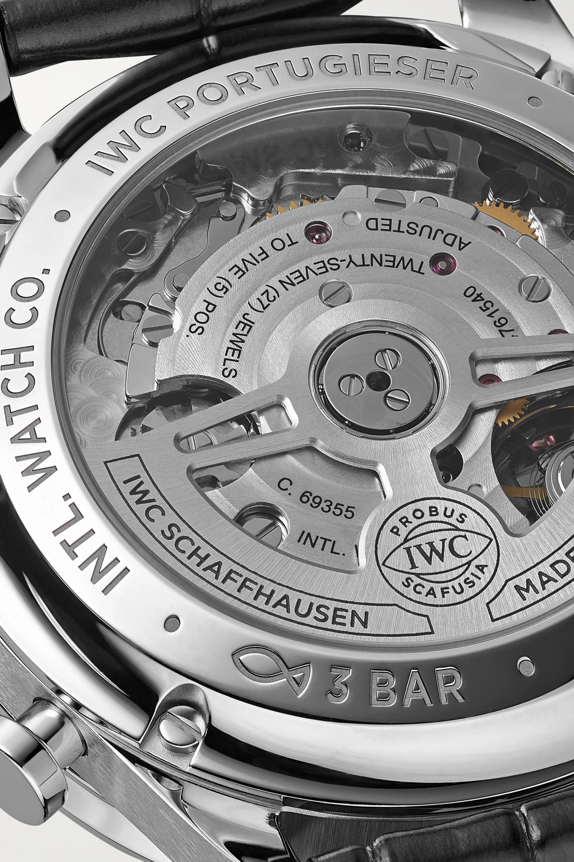IWC SCHAFFHAUSEN Montre en acier inoxydable à bracelet en alligator Portugieser Automatic Chronograph 41 mm