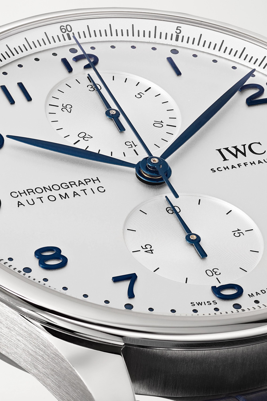 IWC SCHAFFHAUSEN Portugieser Automatic Chronograph 41 mm Uhr aus Edelstahl mit Alligatorlederarmband