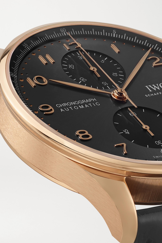 IWC SCHAFFHAUSEN Portugieser Automatic Chronograph 41 mm Uhr aus 18 Karat Gold mit Alligatorlederarmband