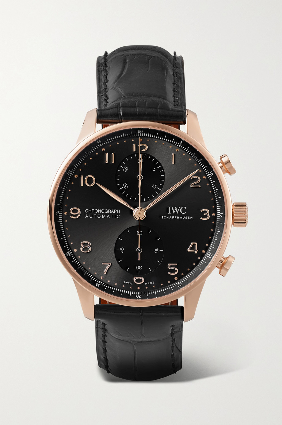 IWC SCHAFFHAUSEN Portugieser Automatic Chronograph 41mm 18-karat gold and alligator watch