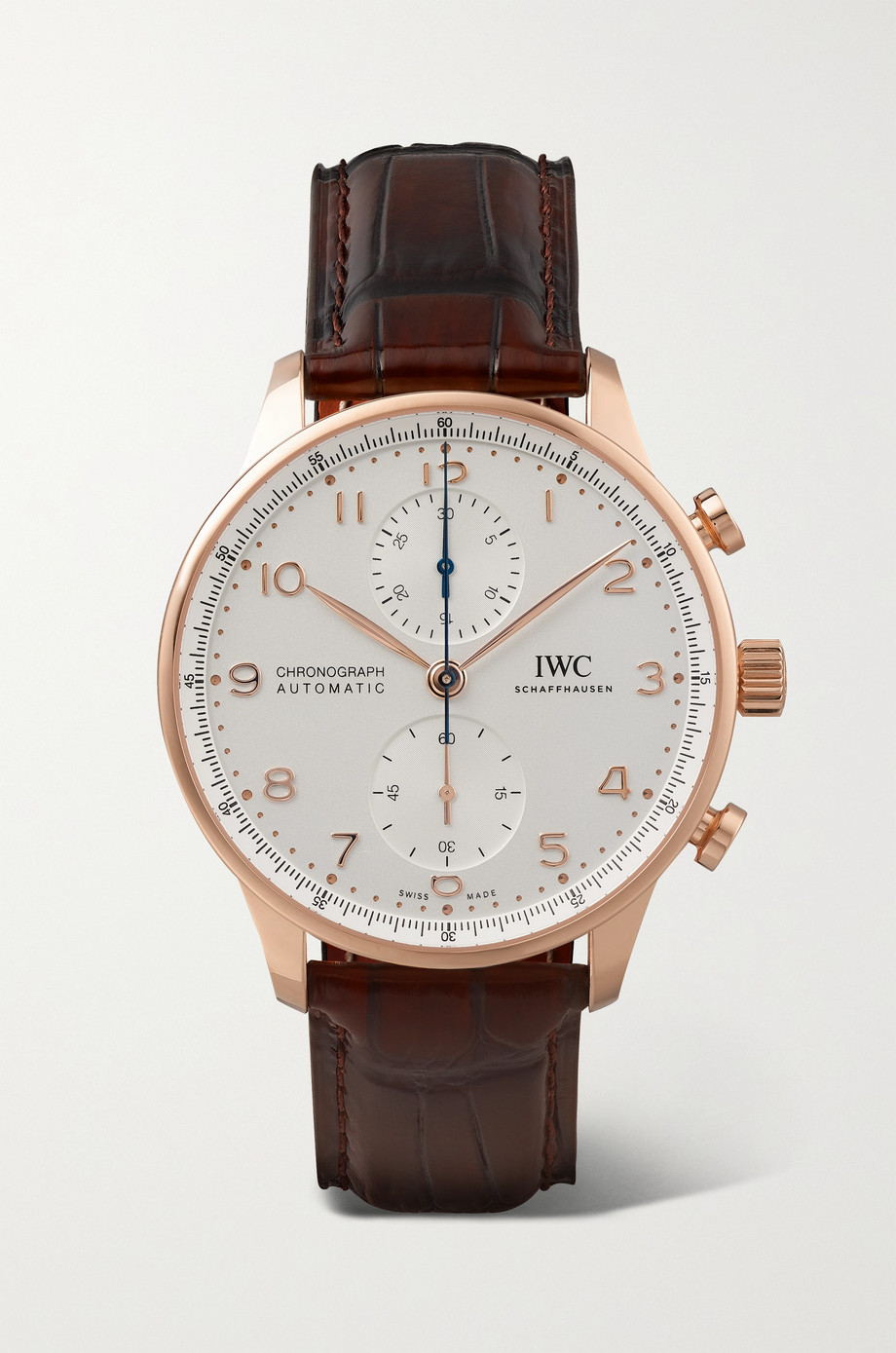 IWC SCHAFFHAUSEN Portugieser Automatic Chronograph 41mm 18-karat red gold and alligator watch
