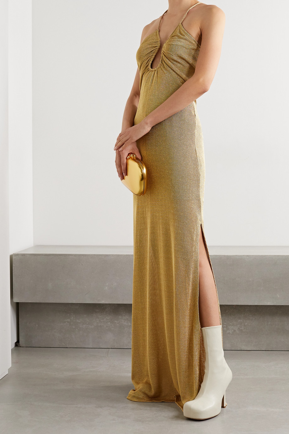 Fendi Open-back metallic knitted gown