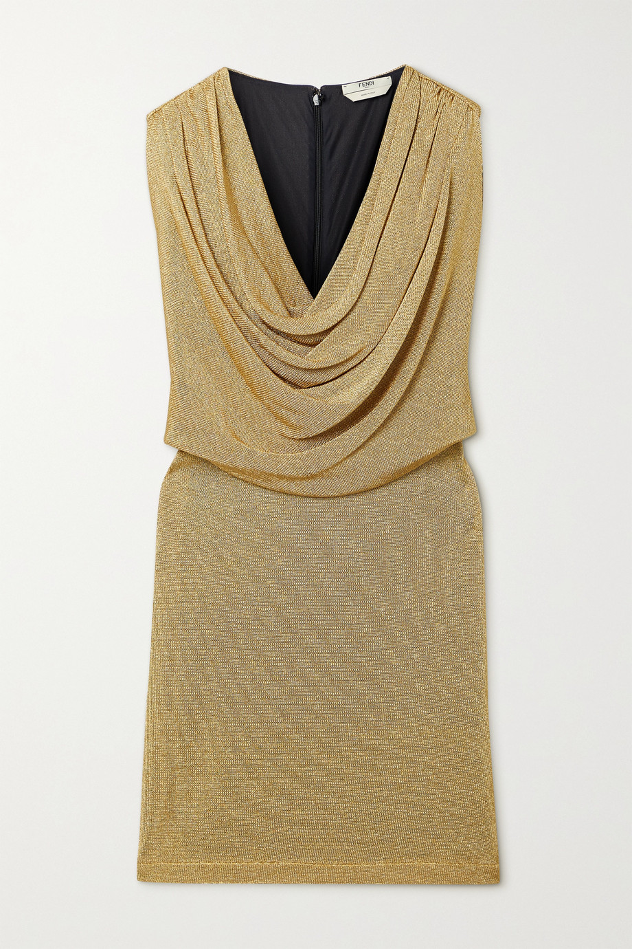 Fendi Draped metallic knitted mini dress