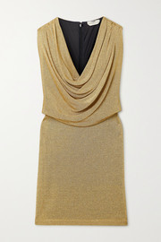 Fendi Draped metallic knitted mini dress
