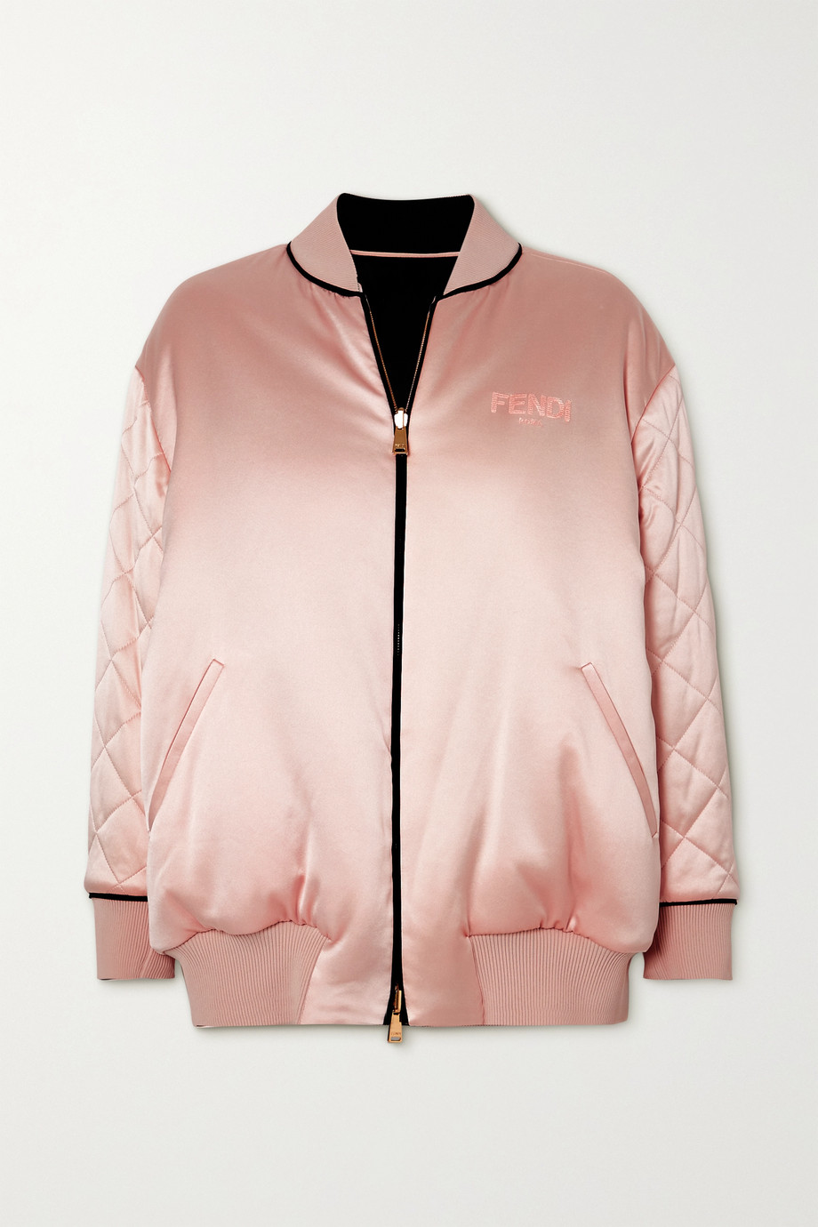 Fendi Reversible embroidered quilted silk-satin bomber