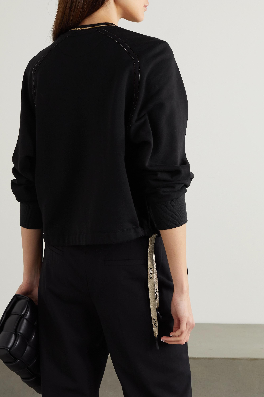 Fendi Sweatshirt aus Baumwoll-Jersey mit Jacquard-Besätzen und Stickereien