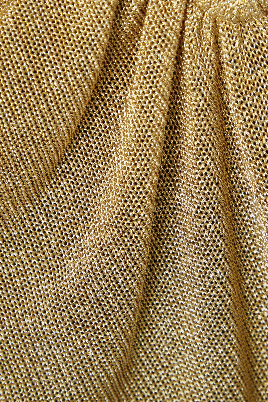 Fendi Gathered metallic knitted camisole