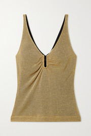 Fendi Gathered metallic knitted camisole
