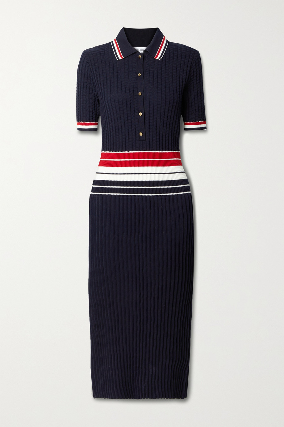 Thom Browne Striped pleated cotton-blend shirt dress