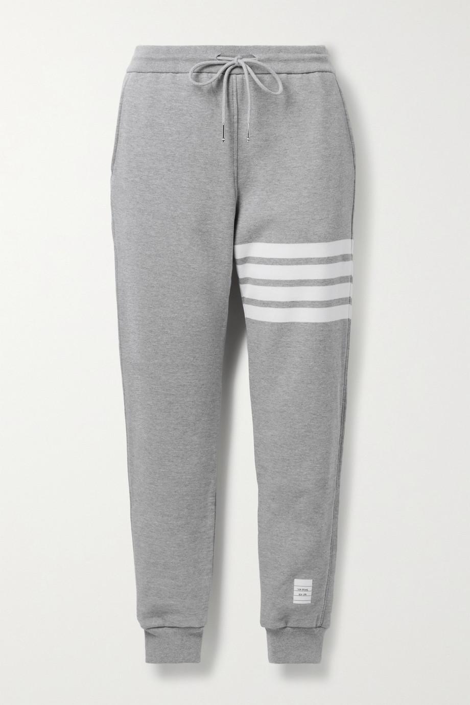 Thom Browne Striped mélange cotton-jersey track pants