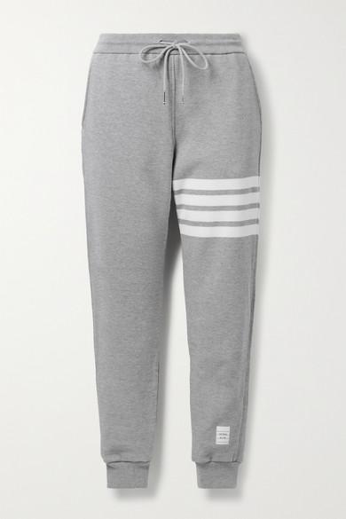 Thom Browne Pants STRIPED MÉLANGE COTTON-JERSEY TRACK PANTS