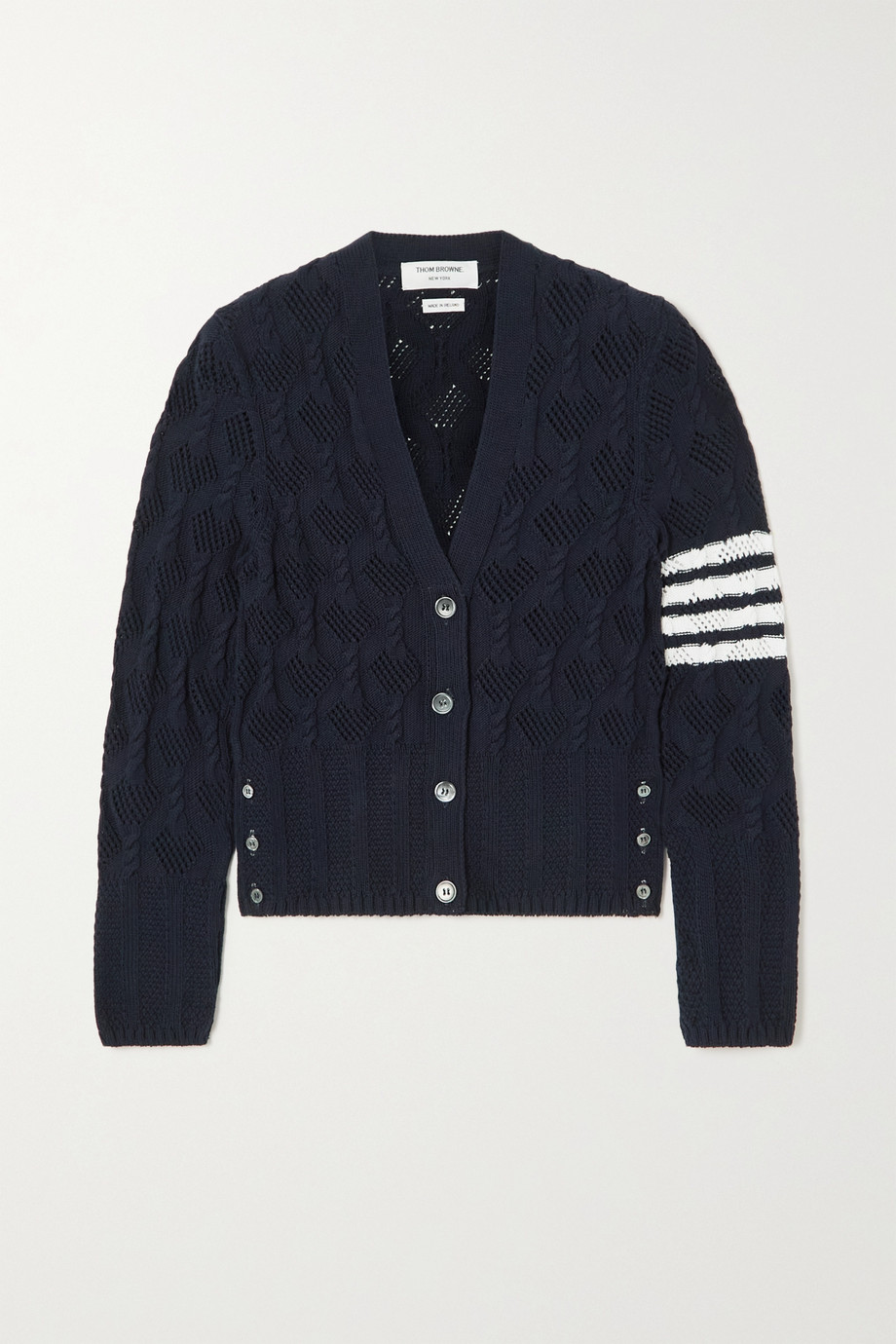 Thom Browne Striped pointelle and cable-knit cotton cardigan