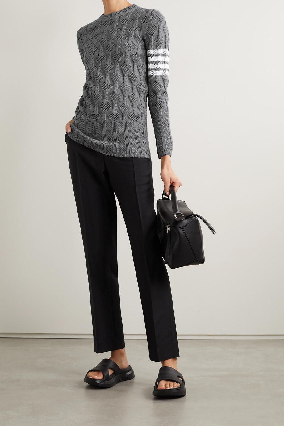 Thom Browne Striped pointelle and cable-knit cotton sweater