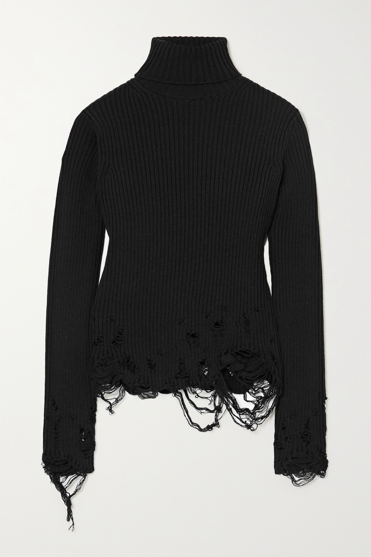 Balenciaga Pull à col roulé en laine côtelée effet vieilli
