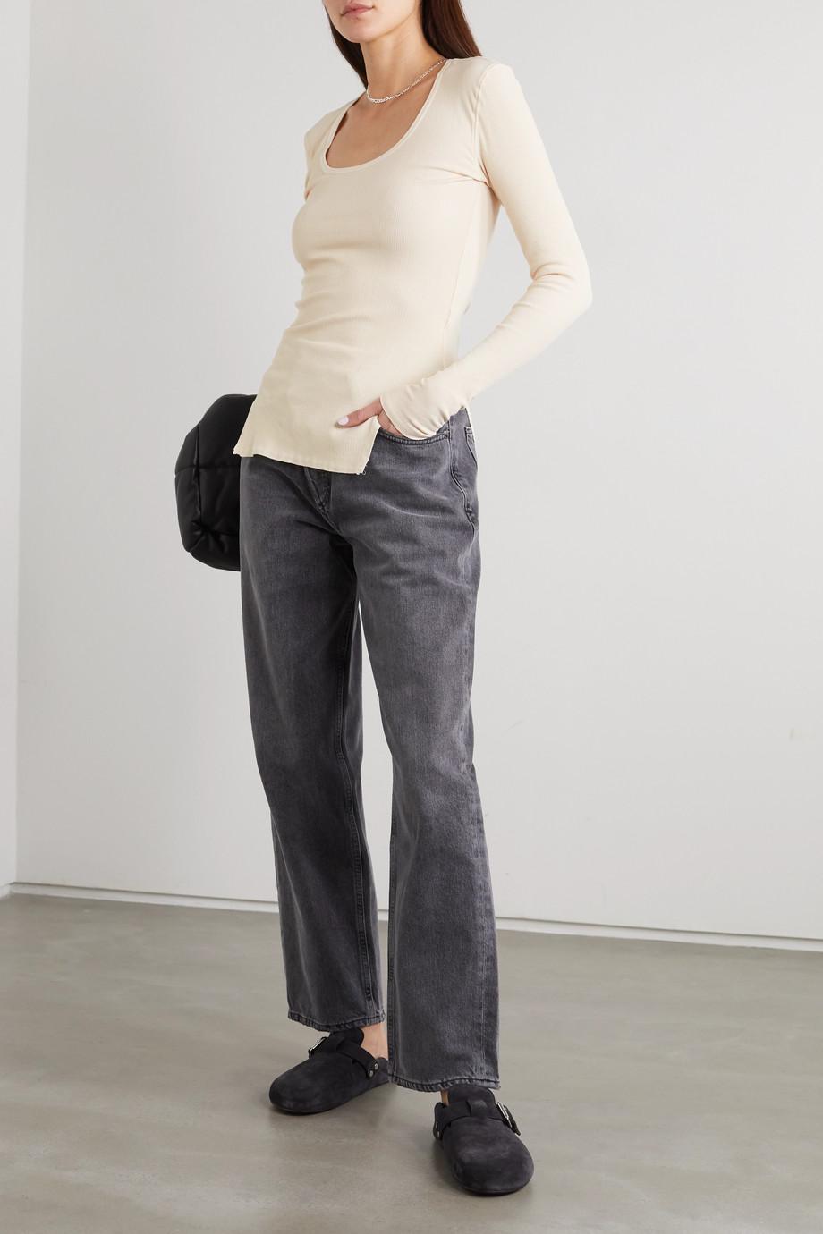 Bassike + NET SUSTAIN geripptes Oberteil aus Stretch-Baumwolle