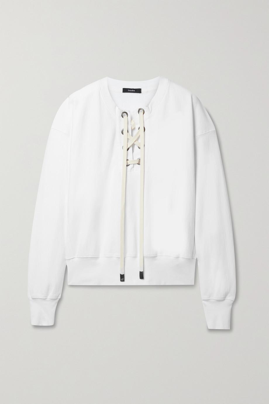 Bassike + NET SUSTAIN Sweatshirt aus Biobaumwoll-Jersey mit Schnürung