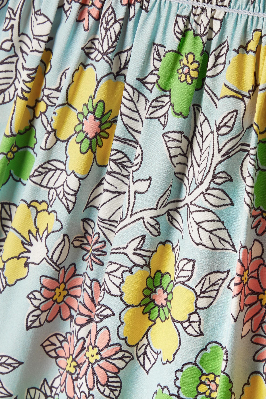 Tory Burch Robe longue en popeline de coton mélangé à imprimé fleuri, à smocks et à volants