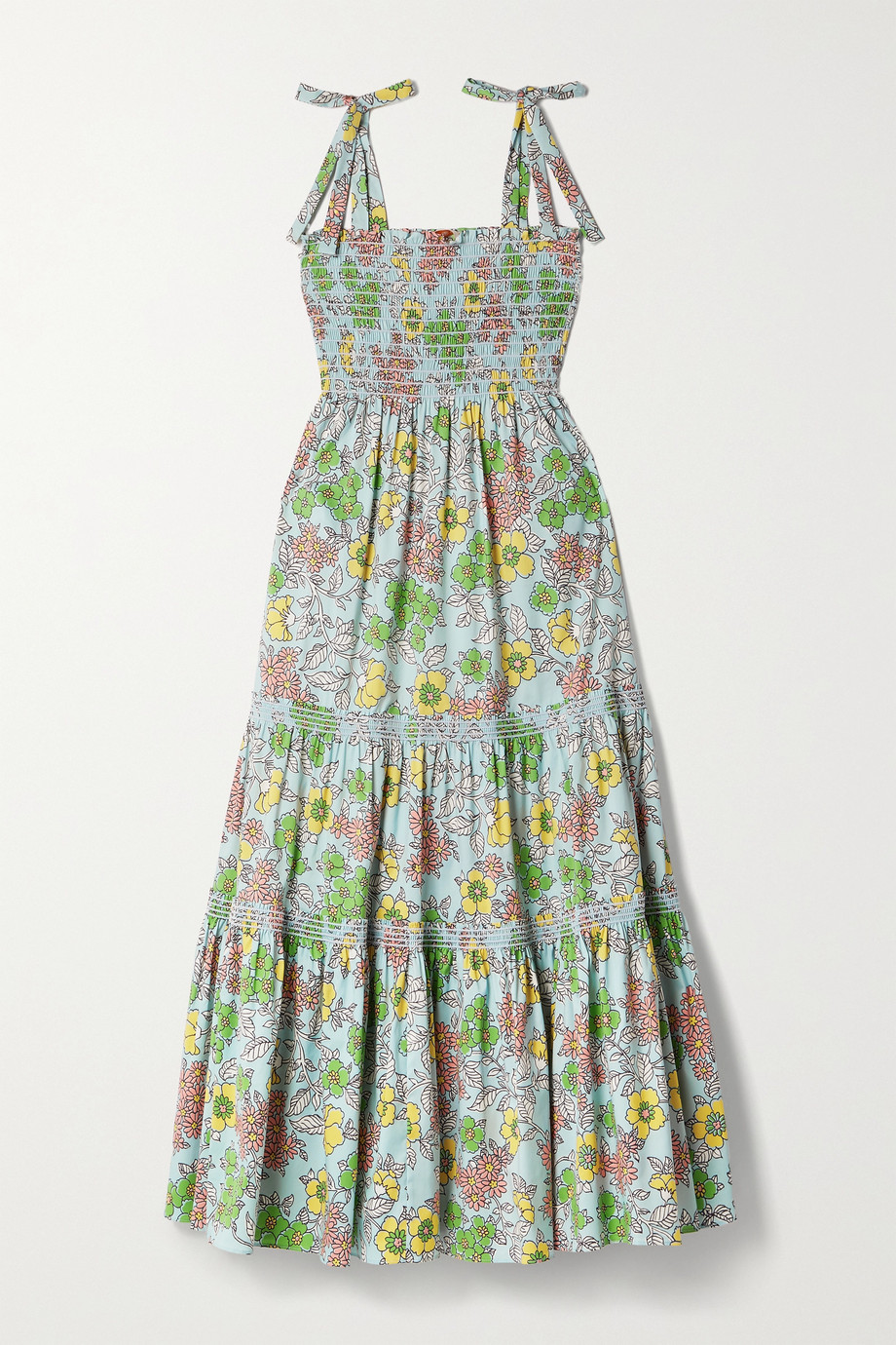 Tory Burch Tiered shirred floral-print cotton-blend poplin maxi dress