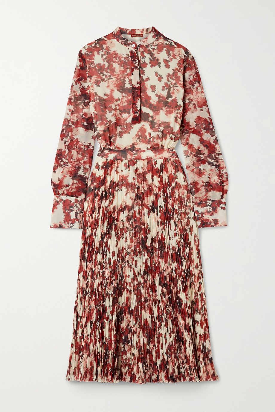 Altuzarra Emilia pleated printed georgette midi dress