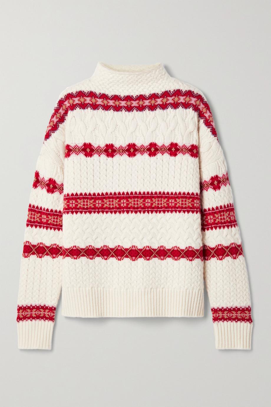 Altuzarra Jac 费尔岛杂色针织绞花针织羊毛高领毛衣