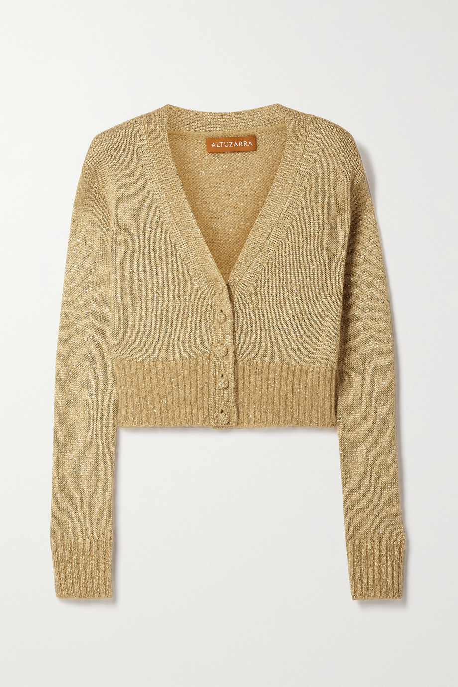 Altuzarra Isla cropped sequin-embellished knitted cardigan