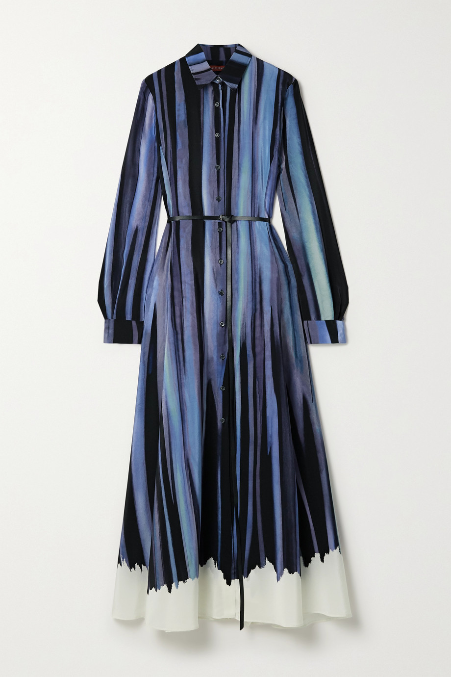 Altuzarra Judina belted printed silk crepe de chine midi shirt dress