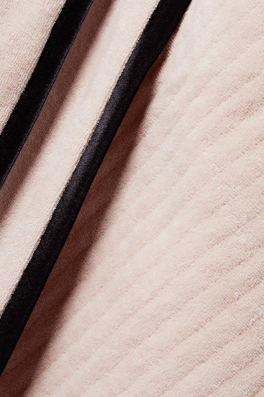 Fendi Morgenmantel aus Baumwollfrottee mit Veloursbesatz und Bindegürtel