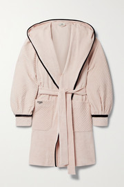 Fendi Hooded belted velour-trimmed cotton-terry robe